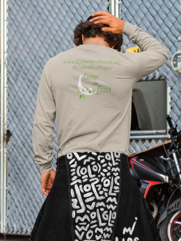 Center for peace long sleeve shirt back
